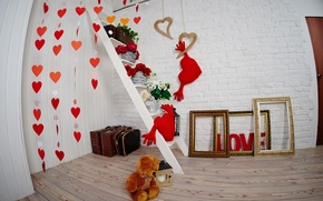 Picture love, holiday, heart, interior, bear, ladder, Valentine's day, frame, Valentine's day