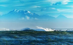 Picture sea, wave, mountains, stones, coast, reefs