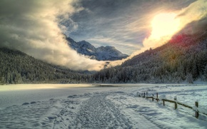 Picture winter, road, forest, snow, mountains, traces, lake, the fence