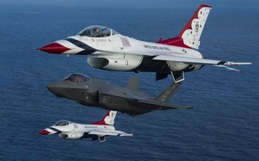 Wallpaper Fighting Falcon, fighters, Thunderbird, F-35A, F-16