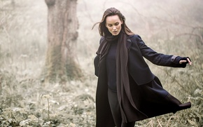 Picture nature, woman, autumn, coat, scarf