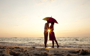 Picture waves, girl, love, beach, sky, sea, woman, sunset, umbrella, sun, man, kiss, boy, sand, mood, …