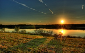 Picture the sun, sunset, nature, river, photo, dawn, Germany, rays of light, Hesse