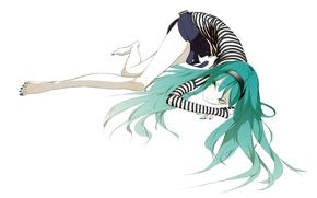 Picture white background, lies, vocaloid, Hatsune Miku, long hair, vest, pedicure, mini skirt, barefoot