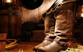 Wallpaper hat, wood, lamp, gloves, cord, cowboy boots