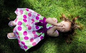 Wallpaper girl, lies, shadow, lawn, grass, dress, laughs