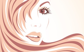 Picture look, girl, face, eyelashes, hair, vector