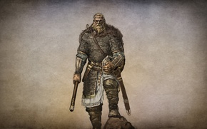 Picture the game, art, hike, warriors, military, ammunition, 1000, action, Nord, the leader, armed, sword, role, …