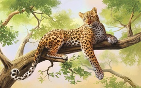 Wallpaper tree, leopard, painting, art, olggah
