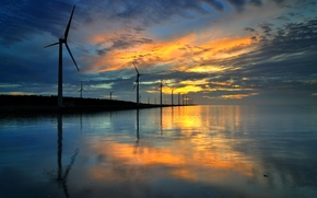 Picture sea, water, reflection, the evening, mill
