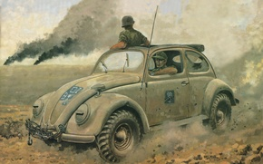 Picture road, machine, dust, Volkswagen, art, car, German, period, staff, The second world war, four-wheel drive, …