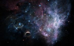Picture space, stars, planet, art, tsujiki