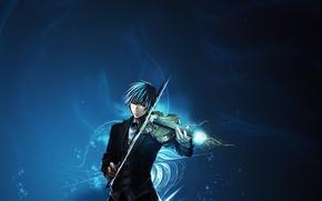Wallpaper musician, anime, violin, music, guy