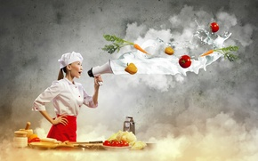 Picture girl, creative, milk, cook, Asian, vegetables, tomatoes, carrots, pepper, cooking, mouthpiece