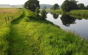 Picture greens, field, summer, grass, trees, river, UK, path, fence, River Ribble, The Ribble