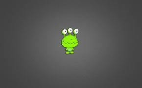 Picture green, minimalism, alien, alien, grey background, three eyes