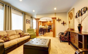 Wallpaper room, sofa, chair, kitchen, pictures, Studio