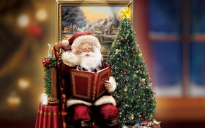 Picture decoration, holiday, gift, tree, candle, picture, Christmas, book, tree, christmas, Santa Claus, figure, Thomas Kinkade, …