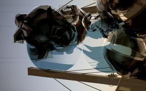 Wallpaper Balls, reflection, line