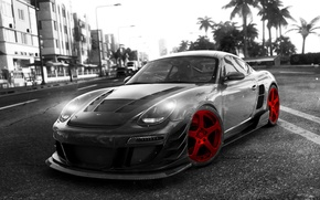 Picture Machine, Red, Race, Car, Porshe, Black, Kormak