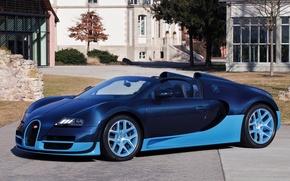 Picture convertible, blue color, Bugatti Veyron 16.4 Grand Sport Vitesse