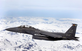 Wallpaper snowy mountains, flight, fighter, height