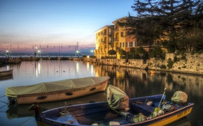 Picture lake, home, boats, the evening, Italy, Lombardy, Sirmione