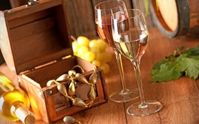 Picture decoration, wine, bottle, glasses, grapes, box, barrel, grapes, Jewelry, Wine
