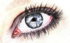 Picture eyes, eyelashes, pencil, painting