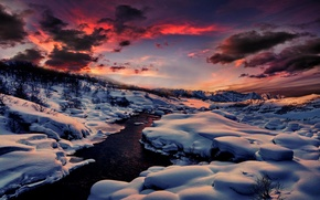Picture winter, forest, snow, mountains, nature, river, rasvet