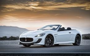 Picture Maserati, Road, White, Machine, Convertible, Maserati, Car, Car, Cars, White, Road, GranCabrio