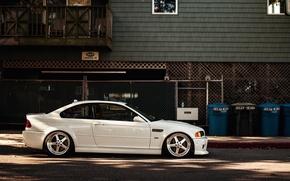 Picture BMW, white, E46, stance