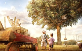 Picture children, house, Tree, truck