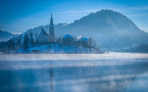 Picture cold, winter, forest, the sun, island, mountain, town, photographer, pond, Ruzdi Ekenheim