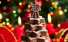 Picture New Year, herringbone, candles, cakes, holidays, dessert, winter, bokeh, lights, New Year, Christmas, tree, Christmas