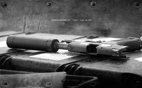 Wallpaper metal, gun, muffler