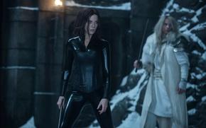 Picture cinema, Kate Beckinsale, girl, sword, Underworld, woman, man, movie, vampire, brunette, blonde, film, warrior, Selene, ...