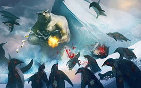 Picture penguin, machine gun, polar bear, art