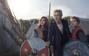 Picture girls, sword, actor, male, Doctor Who, shields, Doctor Who, actress, Maisie Williams, Peter Capaldi, Peter …