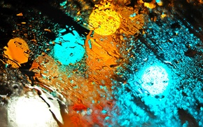 Picture glass, drops, lights