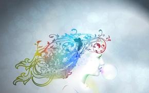 Wallpaper color, bubbles, girl, gum