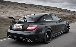 Picture road, the sky, black, Mercedes-Benz, Mercedes, supercar, rear view, AMG, Coupe, AMG, ц63, Black Series, ...