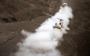 Wallpaper Mini, Dust, Sport, Helicopter, Race, Dakar, SUV, Rally, Mini, 2014, X-raid, Mini Copper