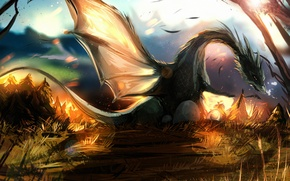 Picture rays, dragon, wings, art, day