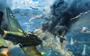 Picture war, attack, figure, ships, art, the simulator, Gaijin Entertainment, Il-2 Sturmovik: Winged predators, Birds of …