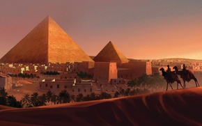 Picture art, painting, concept art, Pyramid