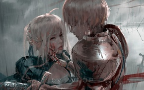 Picture sword, blood, fantasy, Fate/Stay Night, rain, armor, weapon, anime, painting, Gilgamesh, warrior, anime girl, wlop, …