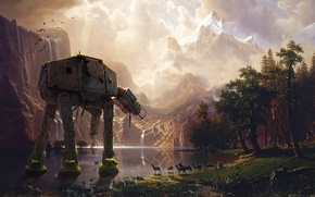 Picture forest, mountains, lake, star wars, imperial walker