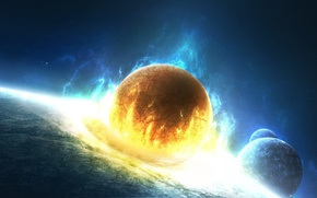 Wallpaper planet, blow, Lost in Flames, cracked, space, the explosion, fire
