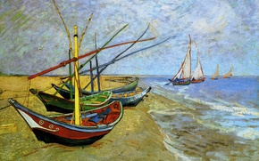 Picture sea, the sky, landscape, shore, picture, boats, Vincent Van Gogh